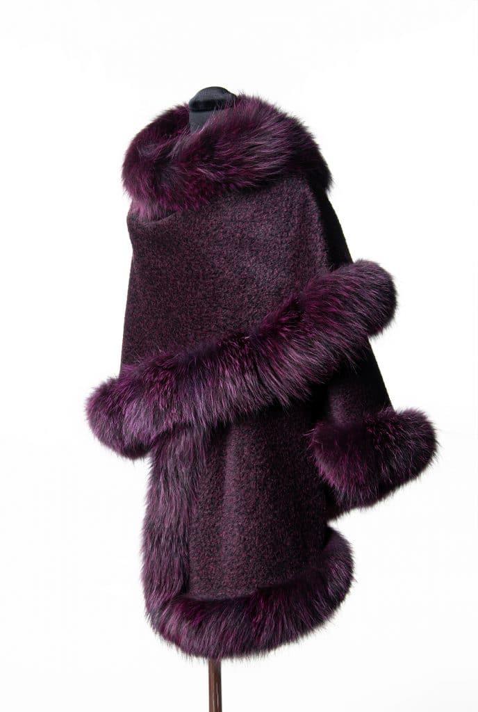 Suri alpaca medium sized shawl in wine color with dyed indigo fox trim