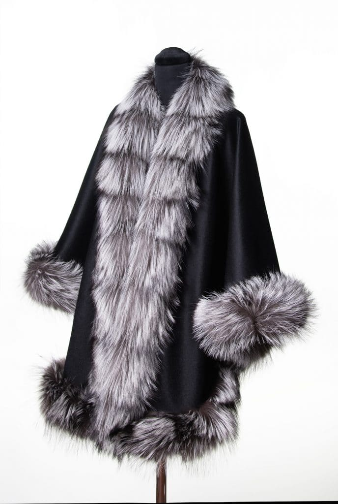 Black 100% Cashmere with Silver Fox Trim
