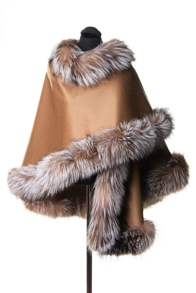 100% Cashmere medium sized shawl in camel color with silver crystal fox trim