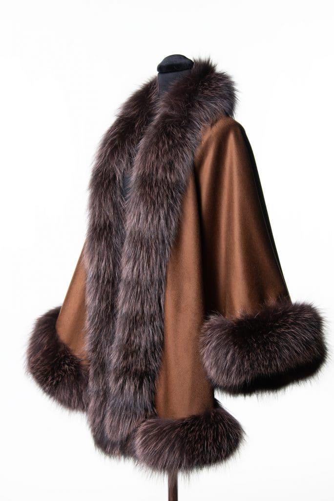 100% cashmere medium sized shawl in tobacco color with indigo dyed fox trim
