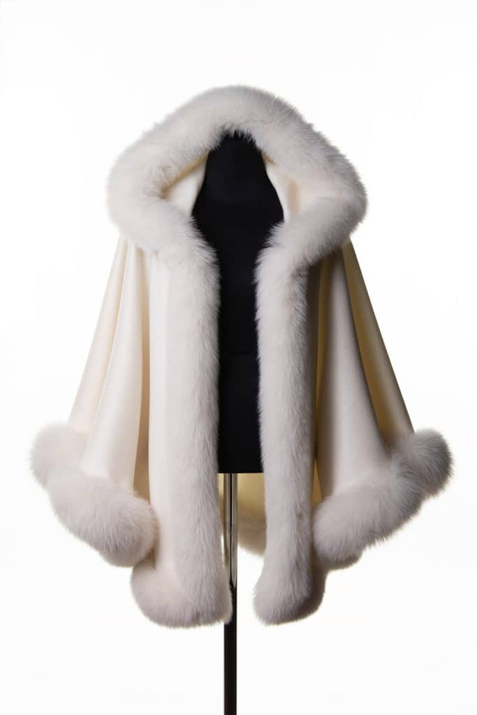 White 100% Cashmere Medium Hooded Shawl with Tone Fox Trim