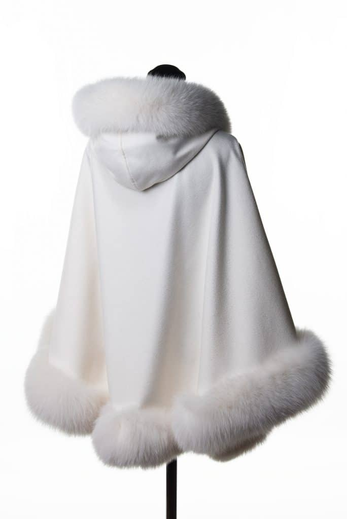 White 100% Cashmere Medium Hooded Shawl with Tone Fox Trim