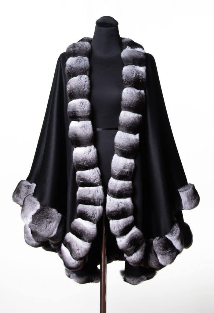 Black 100% Cashmere Large Shawl with Chinchilla Trim