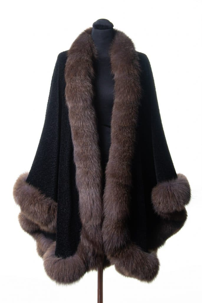 Black Suri Alpaca Large Shawl with Sable Dyed Fox Trim