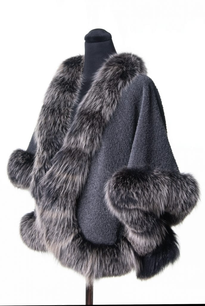 Grey Suri Alpaca Short Shawl with Black Snowtop Fox Trim