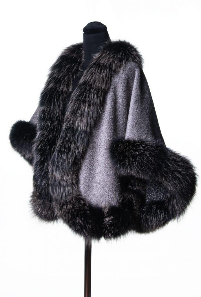 Silver Suri Alpaca Short Shawl with Black Snowtop Fox Trim