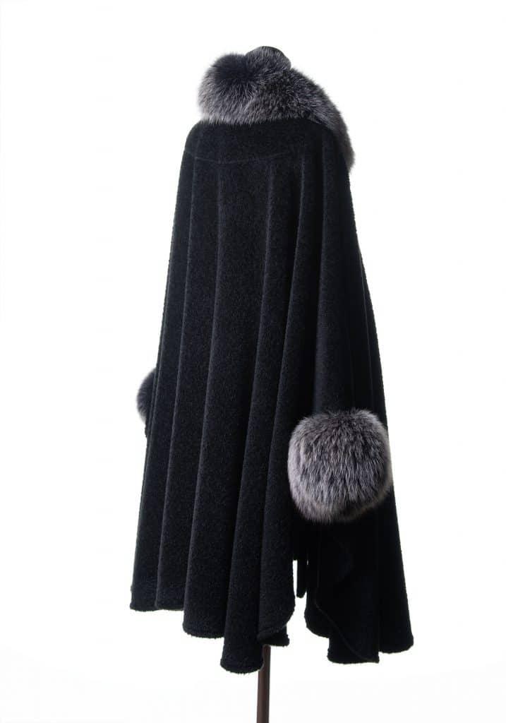 Black Suri Alpaca Large Cape with Black Snowtop Fox Trim