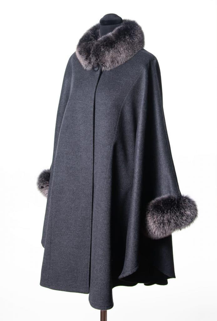 Grey Cashmere Wool Blend Large Cape with Black Snowtop Fox