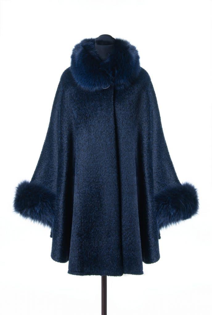 Suri Alpaca Medium Sized Cape in Royal Blue Color with Tone Fox Trim