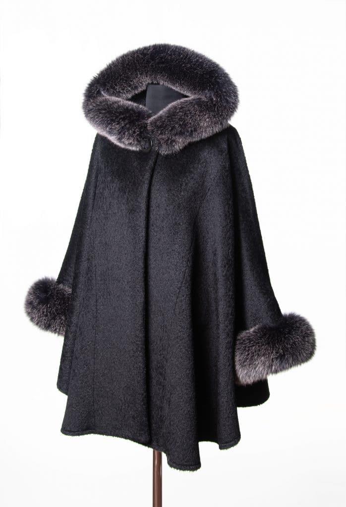 Black Suri Alpaca Medium Hooded Cape with Black Snowtop Fox Trim