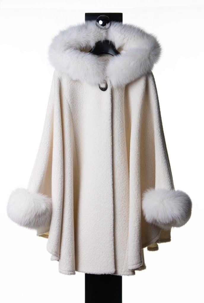 Off White Suri Alpaca Medium Hooded Cape with Tone Fox Trim
