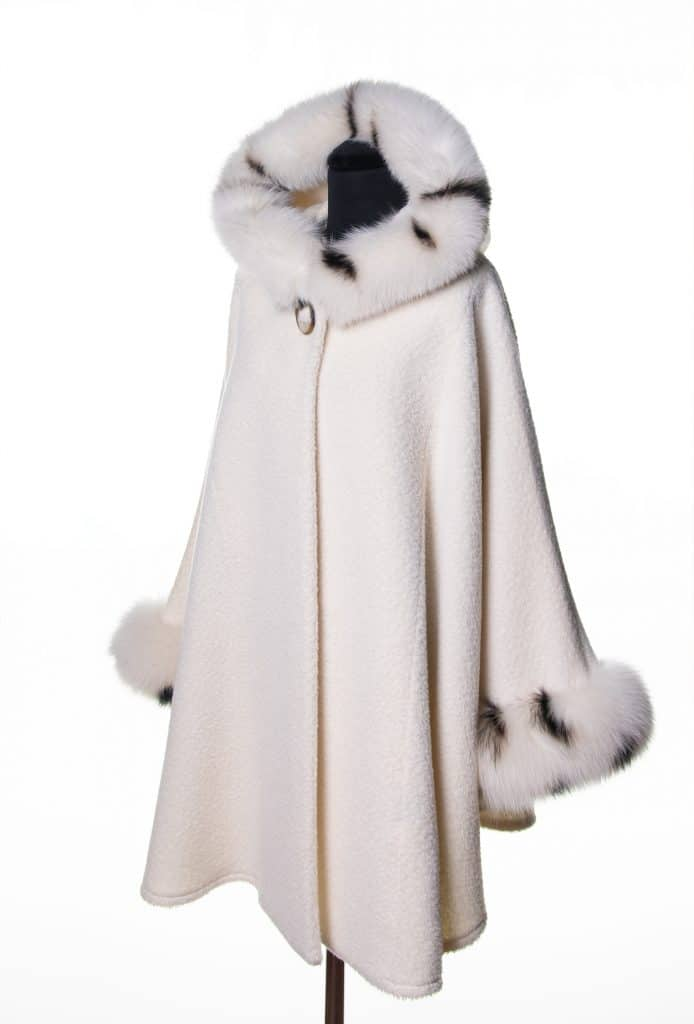 OFf White Suri Alpaca Medium Hooded Cape with Spot Dyed Fox Trim