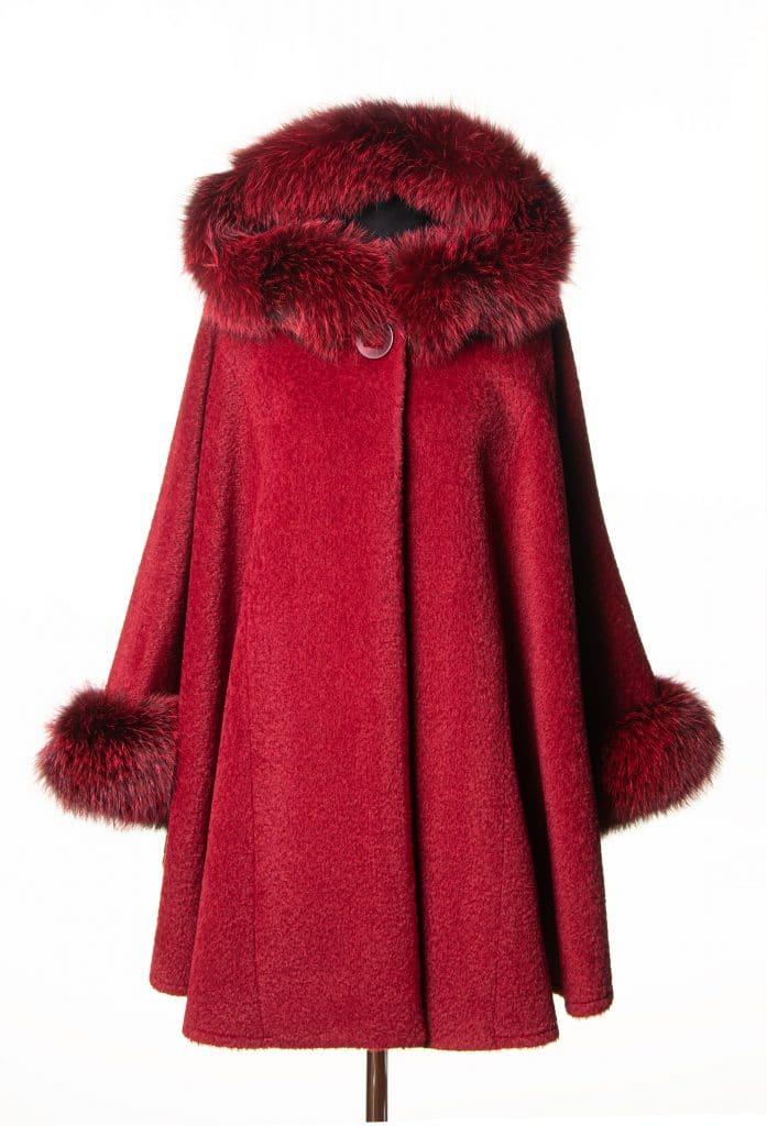 Red Suri Alpaca Medium Hooded Cape with Dyed Indigo Fox Trim