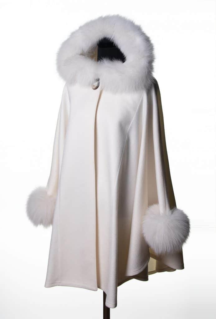 White 100% Cashmere Medium Hooded Cape with Tone Fox Trim