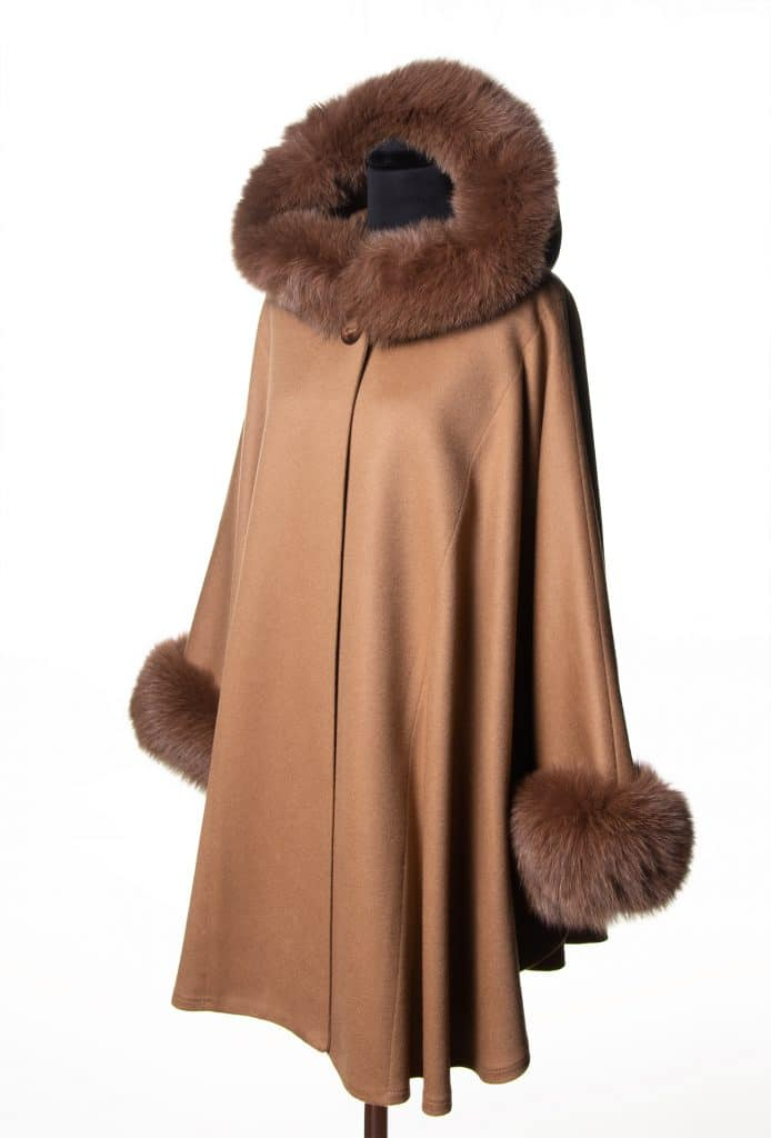 Camel Cashmere Wool Medium Hooded Cape with Tone Fox Trim