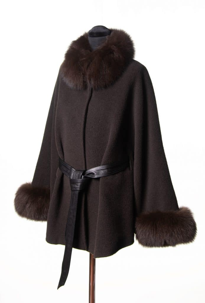Brown Baby Alpaca Small Belted Cape with Tone Fox Trim