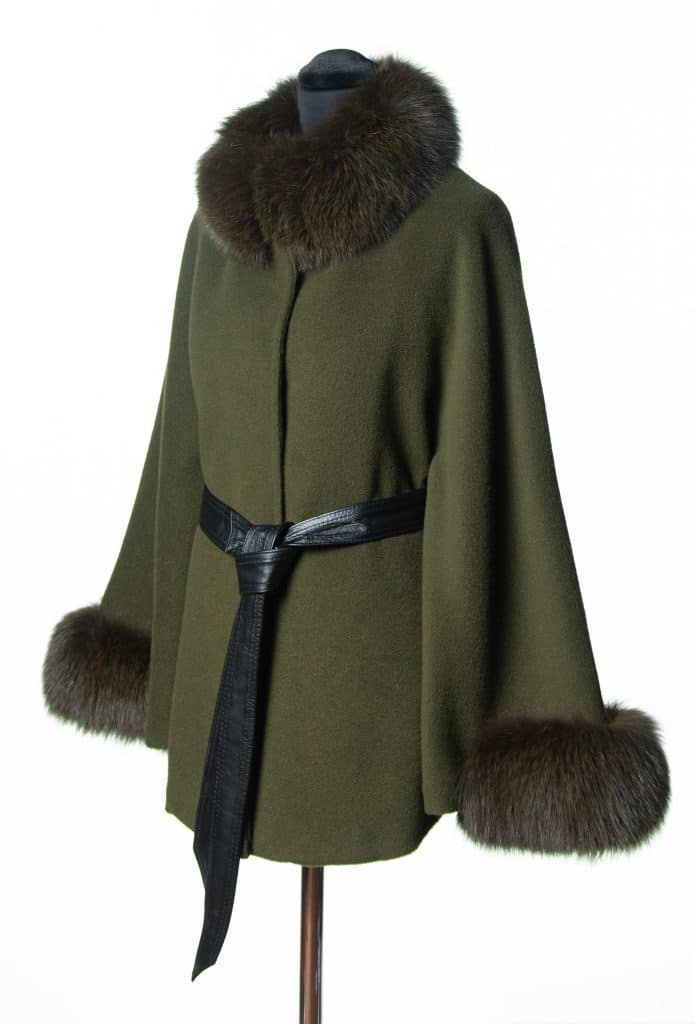 Olive Baby Alpaca Small Belted Cape with Tone Fox Trim