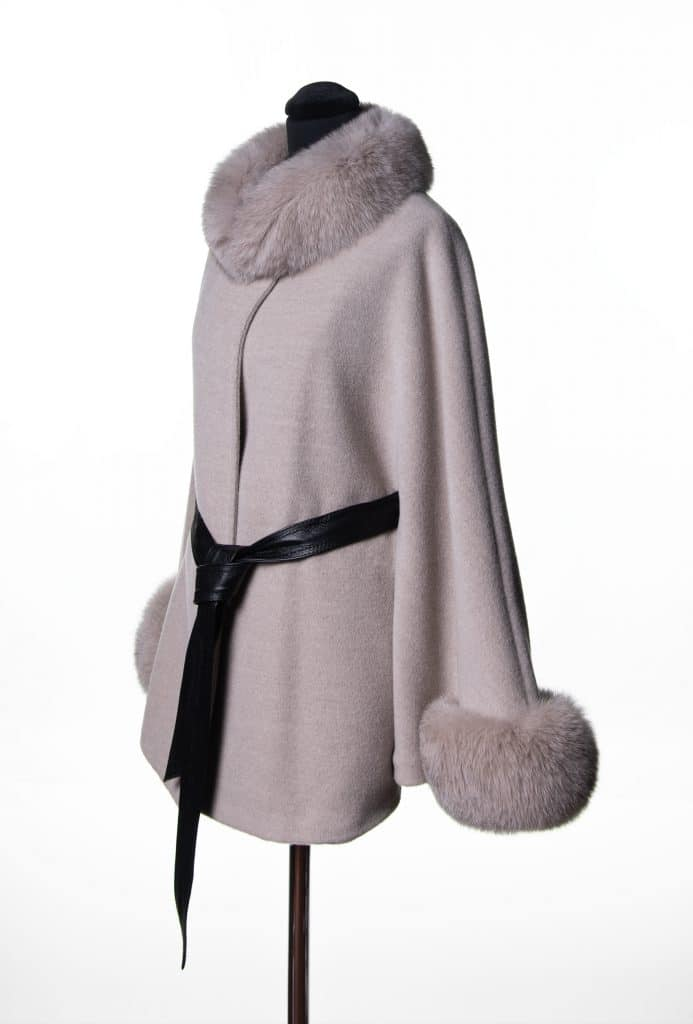 Sand Baby Alpaca Small Belted Cape with Tone Fox Trim