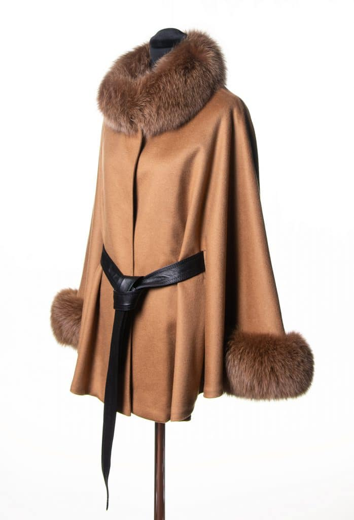 Camel 100% Cashmere Small Belted Cape with Tone Fox Trim