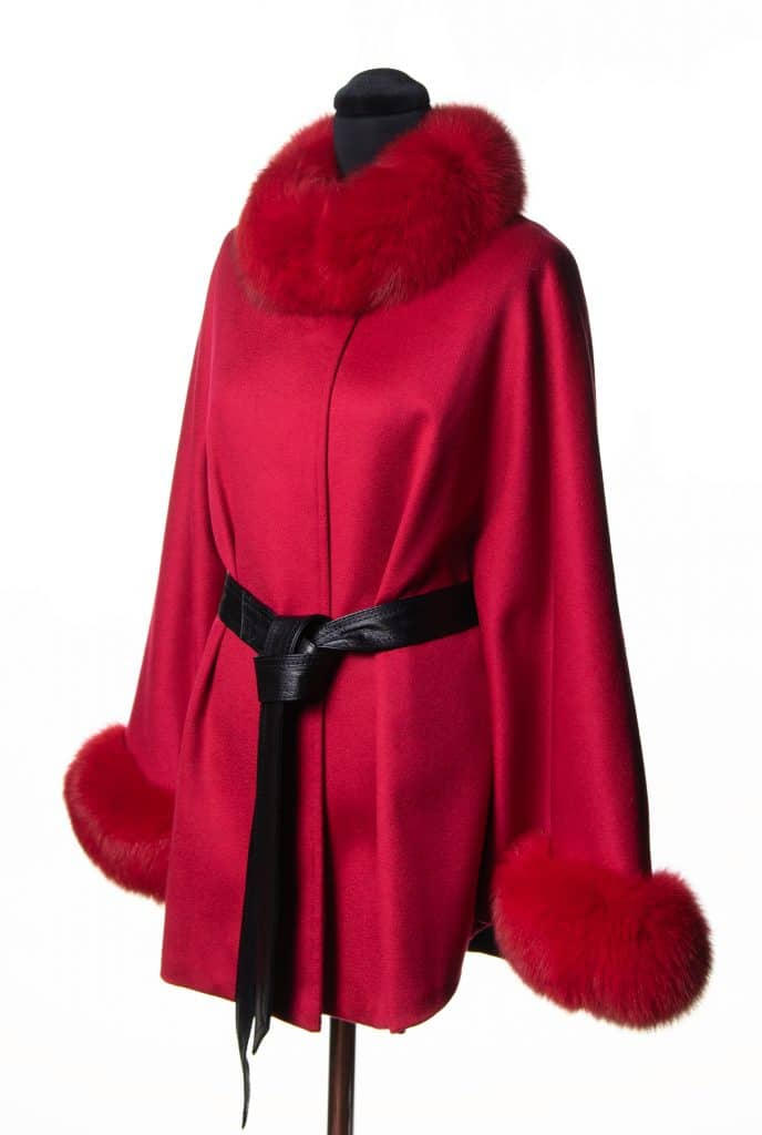 Red 100% Cashmere Small Belted Cape with Tone Fox Trim