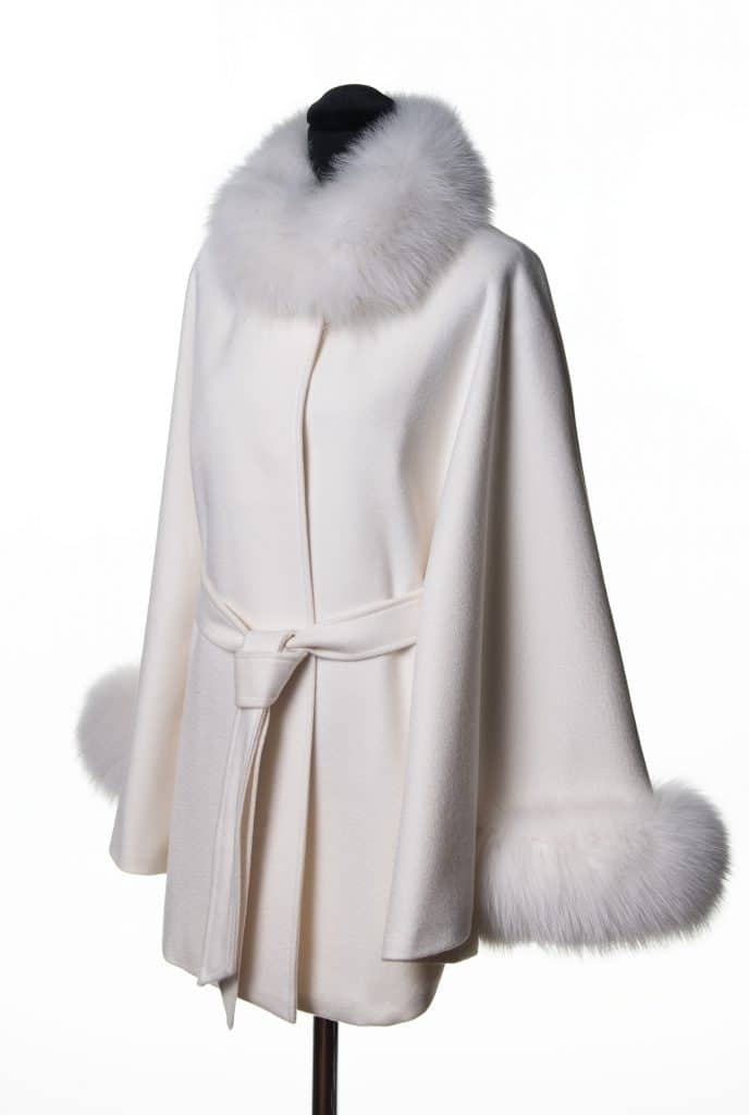 White 100% Cashmere Small Belted Cape with Tone Fox Trim