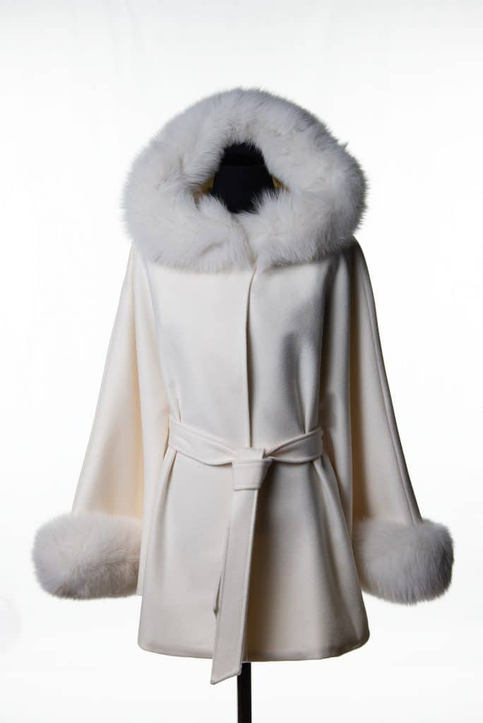 White 100% Cashmere Short Hooded Belted Cape with Tone Fox