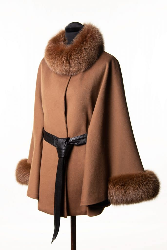 Camel Loro Piana Belted Cape with Fox Trim