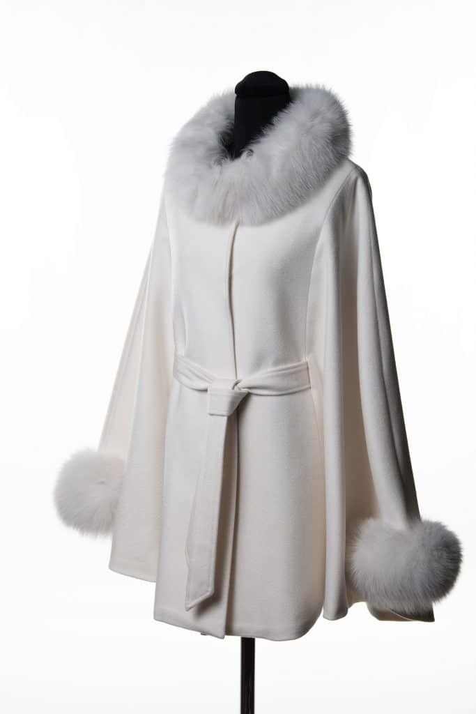 White 100% Cashmere Medium Belted Cape with Tone Fox