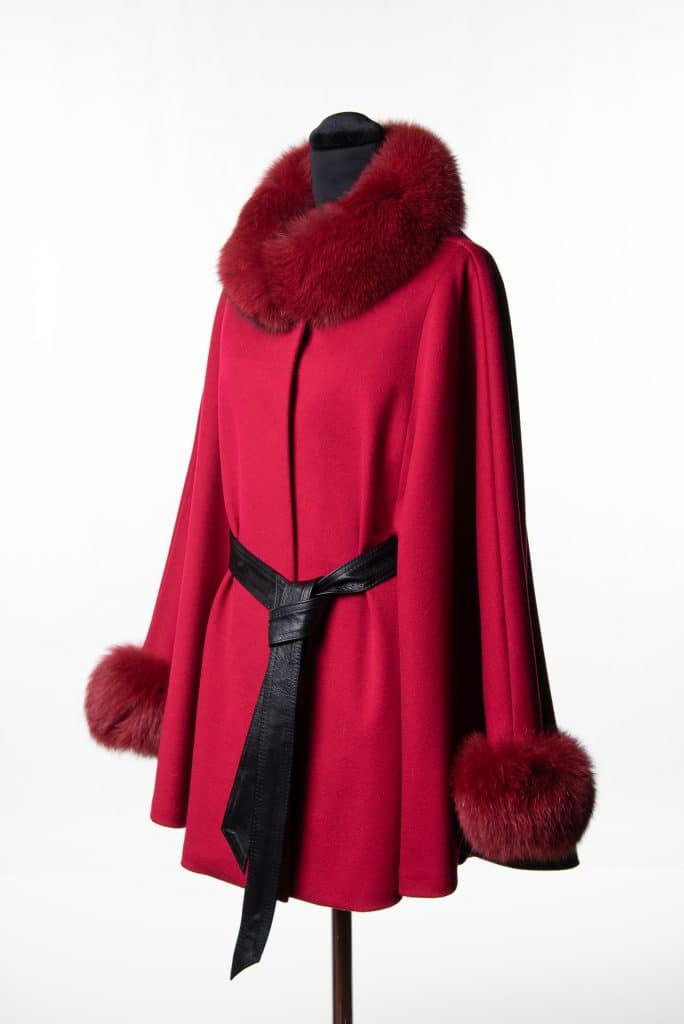 Red Loro Piana Medium Belted Cape with Tone Fox