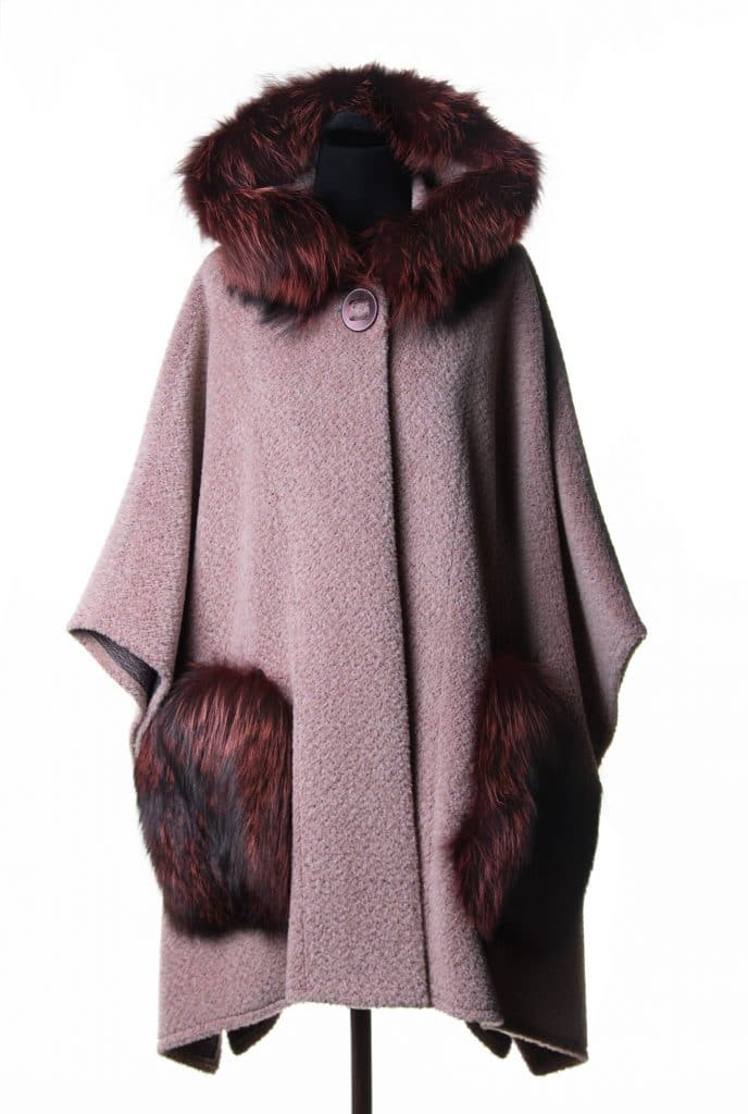 Suri Alpaca Hooded Poncho in Pink Color with Silver Dyed Fox Trim