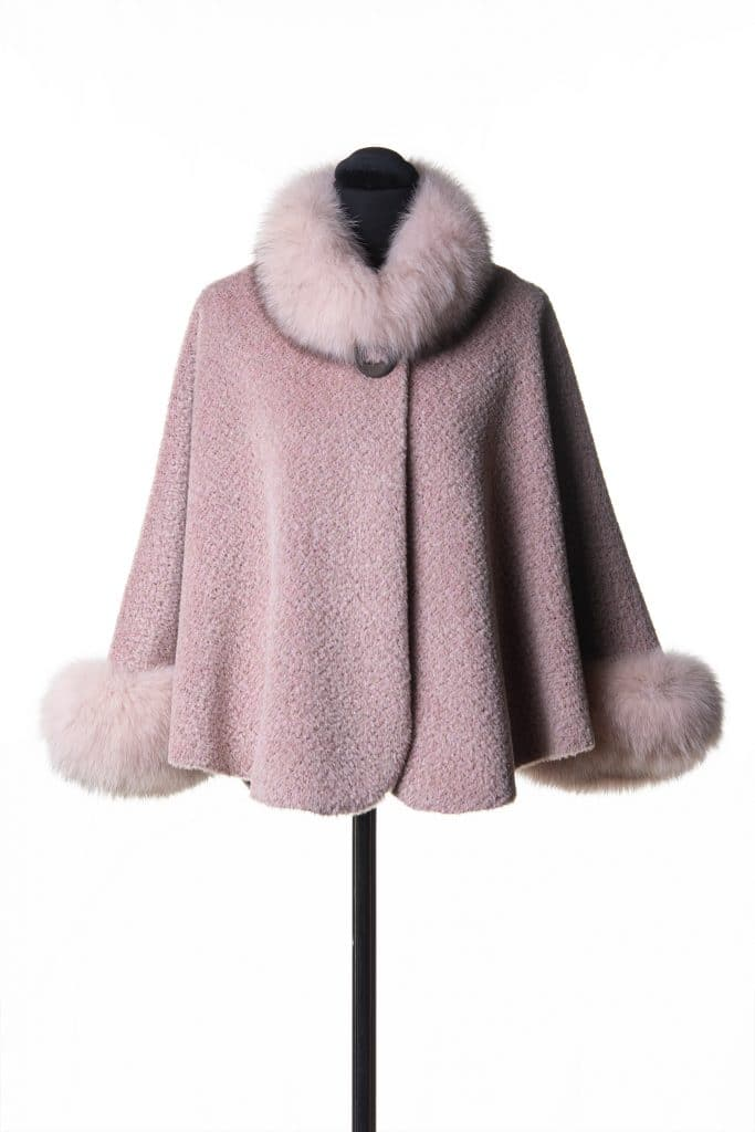 Pink Suri Alpaca Caplet with Fox Trim