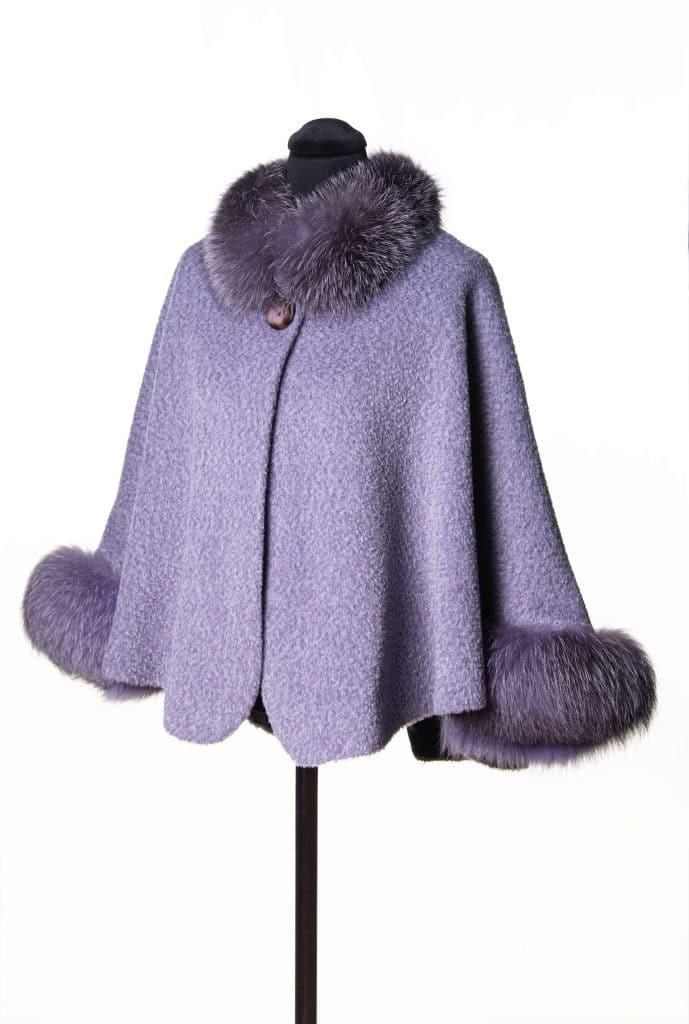 Violet Suri Alpaca Caplet with Dyed Indigo Fox Trim