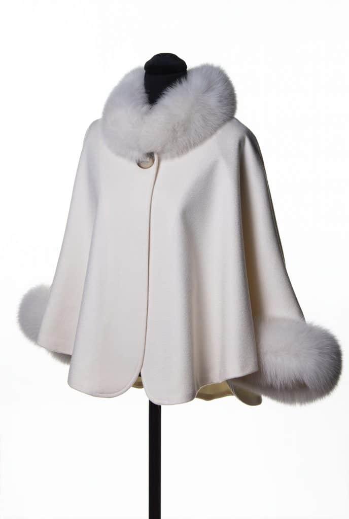 White 100% Cashmere Caplet with Tone Fox Trim