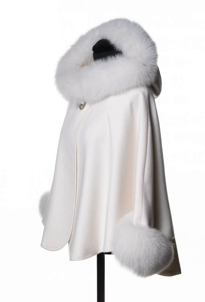 White 100% Cashmere Hooded Caplet with Tone Fox Trim