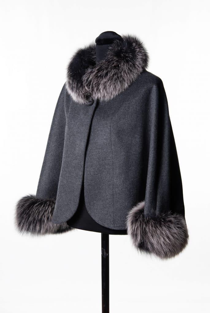 Grey Cashmere Wool Caplet with Fox Trim