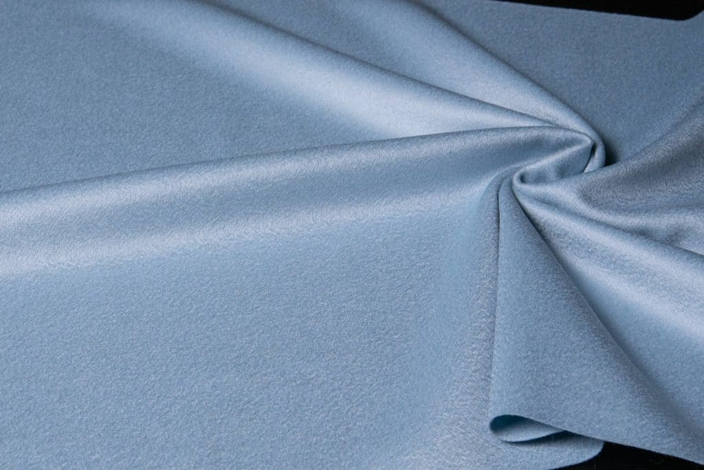 100% cashmere fabric in baby blue color