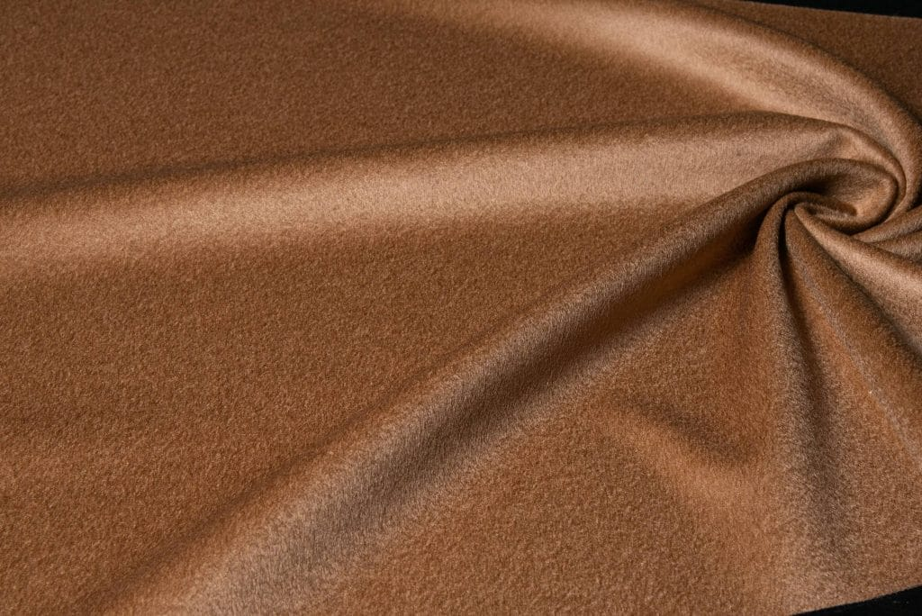 100% cashmere fabric in camel color