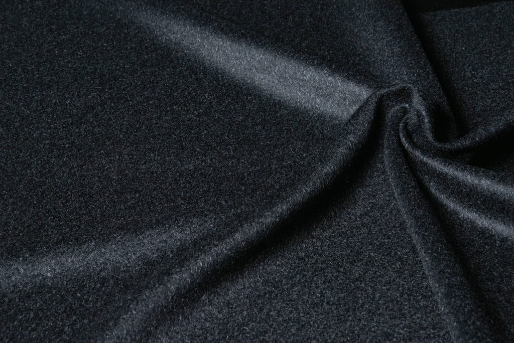 100% cashmere fabric in charcoal color