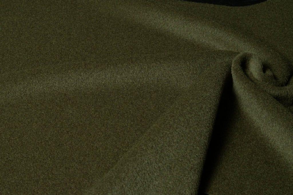 Baby alpaca fabric in olive color