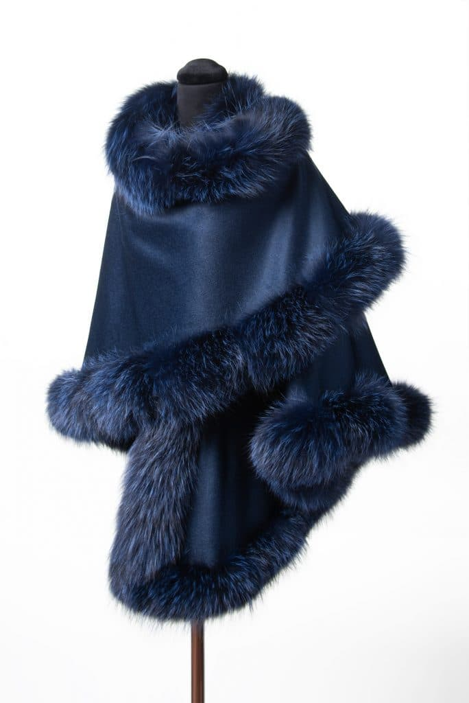 Blue 100% Cashmere Shawl with Dyed Indigo Fox Trim