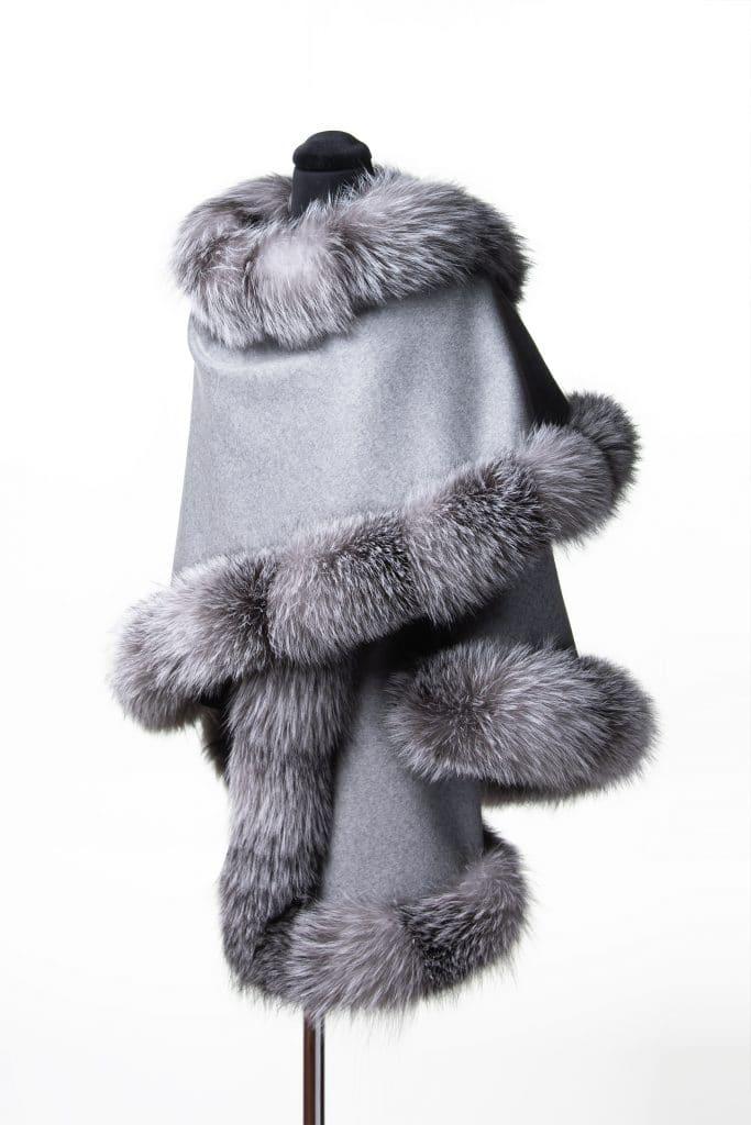 Light Grey 100% Cashmere Shawl with Frost Fox Trim