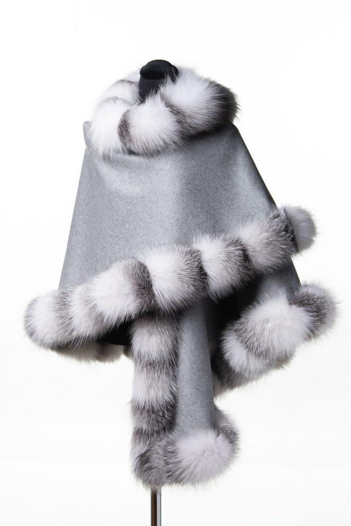 Light Grey 100% Cashmere Shawl with Platinum Fox Trim