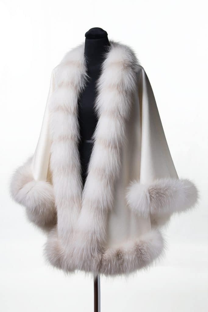 White 100% Cashmere Shawl with Palomino Fox Trim