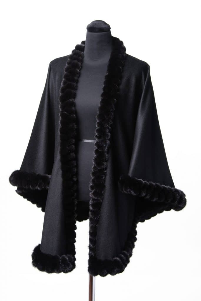 Black 100% Cashmere Medium Shawl with Double Tone Mink Lace