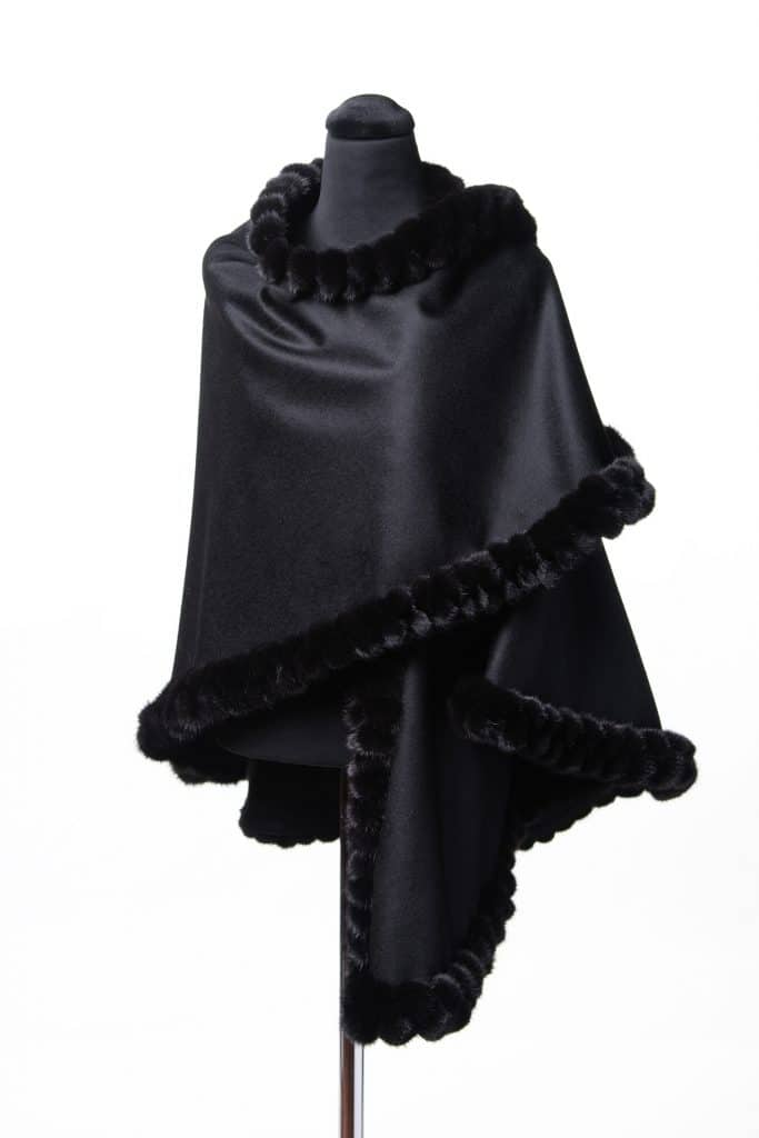 Black 100% Cashmere Medium Shawl with Double Tone Mink Lace