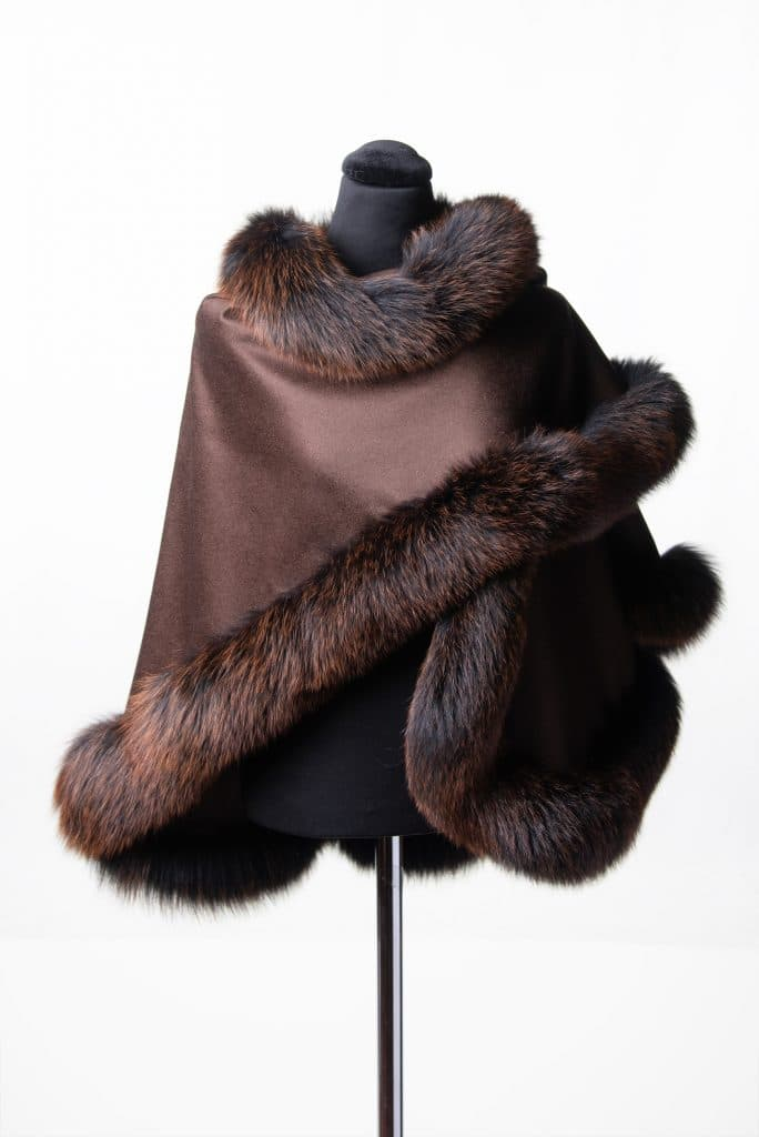 Brown 100% Cashmere Small Shawl with Fox Trim