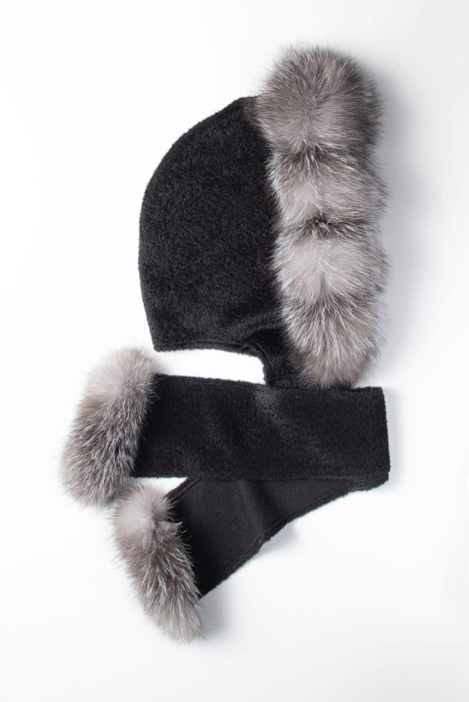 Black Suri Alpaca Hooded Scarf with Fox Trim