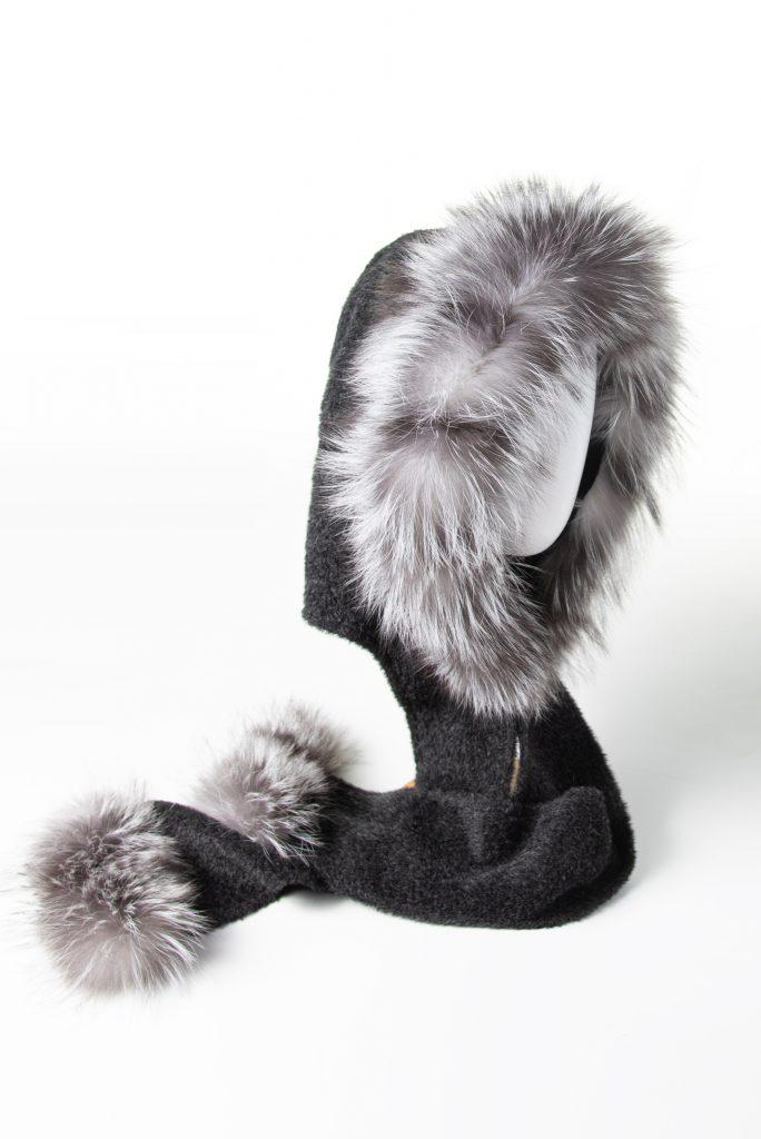 Charcoal Suri Alpaca Hooded Scarf with Fox Trim