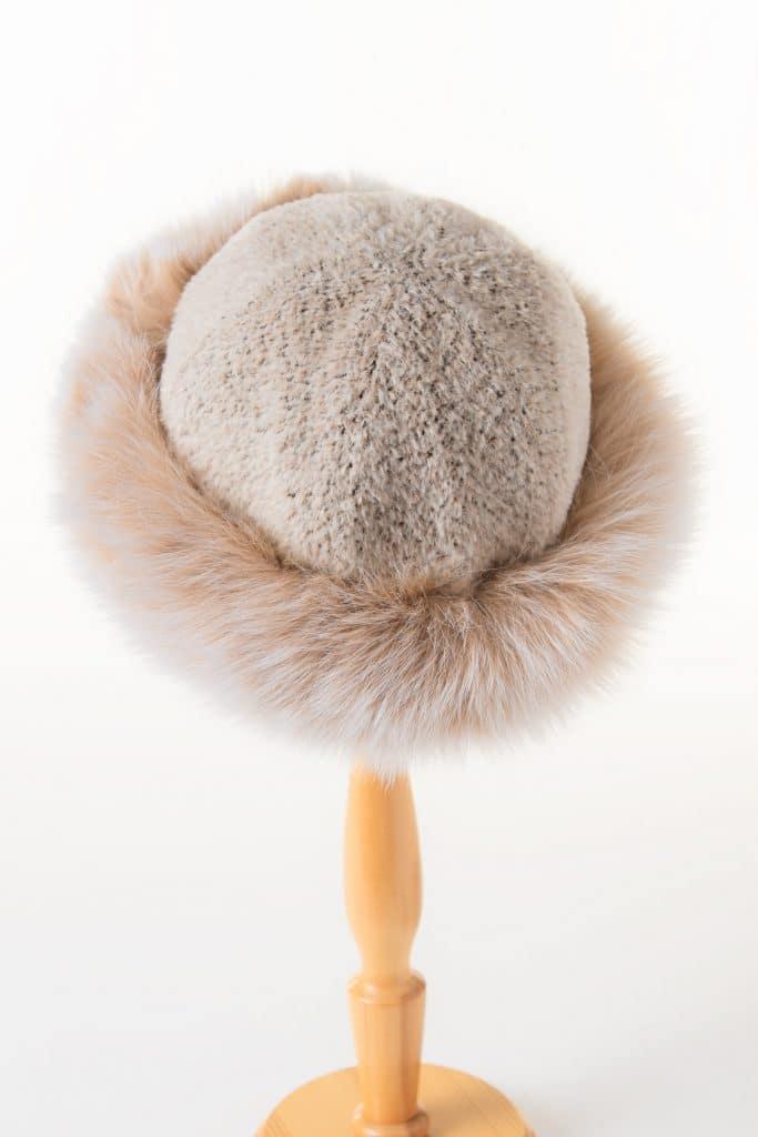 Round Alpaca Hat with Fox Trim