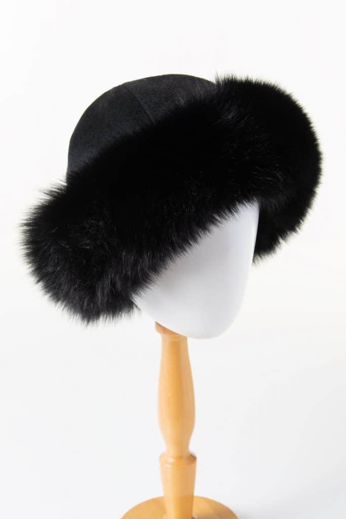 Round 100% Cashmere Hat with Fox Trim
